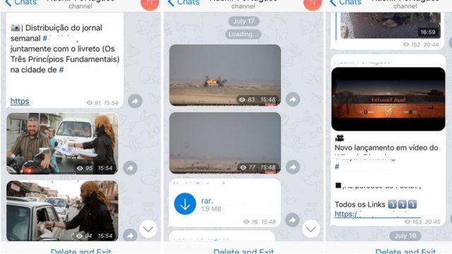Membros do EI divulgam vídeos, fotos e notícias em tempo real em grupos online em português