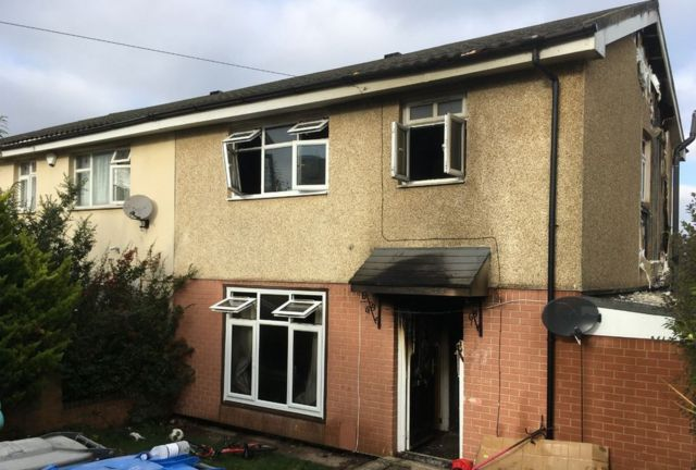 Arson arrest after Rugby house fire hurts four