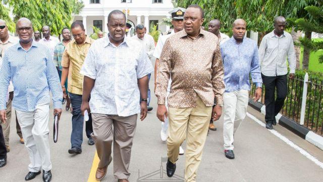 Uhuru iyo Matiangi oo Mombasa ku sugan magacaabista kadib