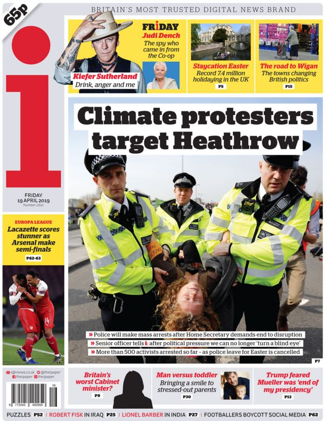 Newspaper headlines: Climate protests and Trump probe