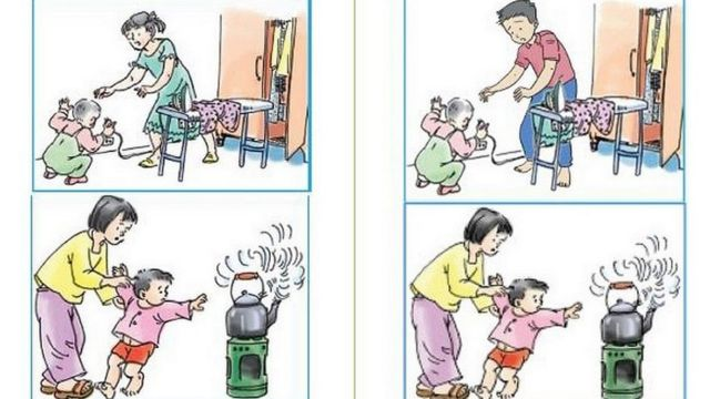Dipiction of Mom and Dad duties in a text book