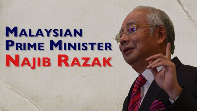 A graphic which reads 'Malaysian PM Najib Razak' and also shows an image of the same person