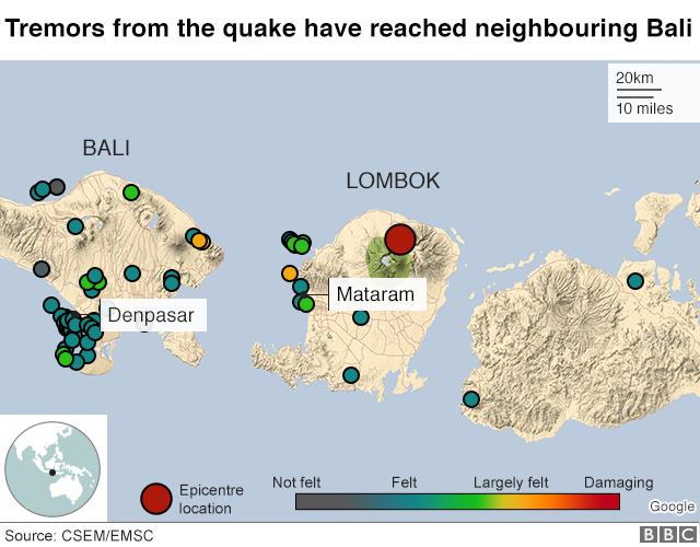Indonesia earthquake: 14 dead on tourist island of Lombok
