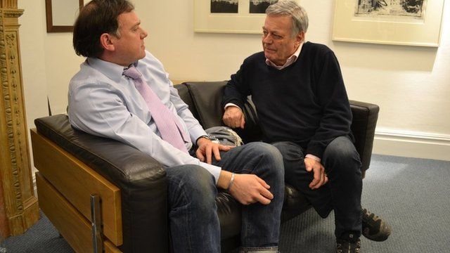 Paddy O'Connell, presenter of BBC Radio Four's Broadcasting House, interviewing Tony Blackburn