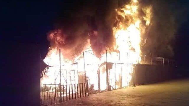 Campo Moria en fuego.