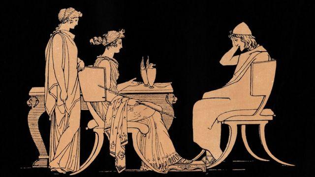 Una antigua ilustración de Odiseo a la mesa de Circe