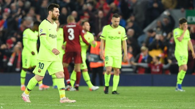 Barcelona walk off after being beaten by Liverpool