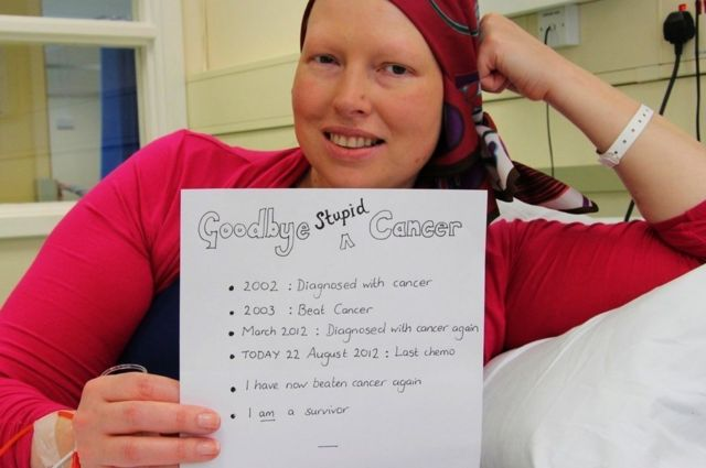 Goodbye stupid cancer, my last chemo ever picture, August 2012
