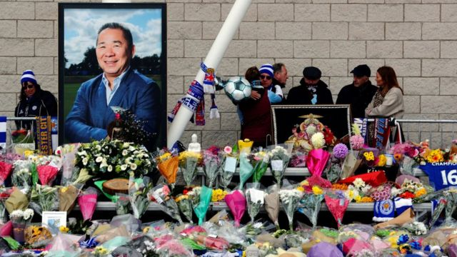 """Fans react on the day a book of condolence opened for Leicester City""""s owner Thai businessman Vichai Srivaddhanaprabha,"""