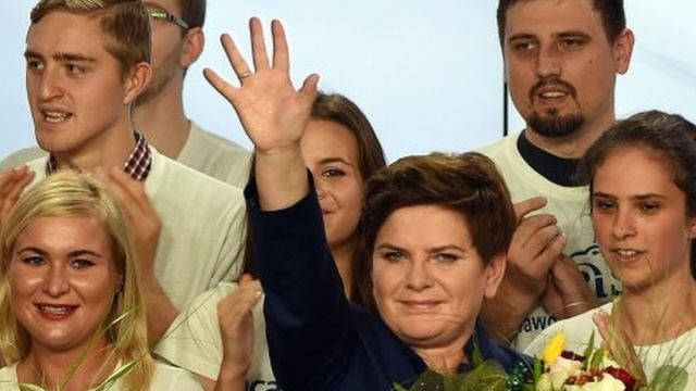 Beata Szydlo, candidate for prime minister, celebrates with supporters at the party's headquarters in Warsaw after exit poll results were announced (25 October 2015)
