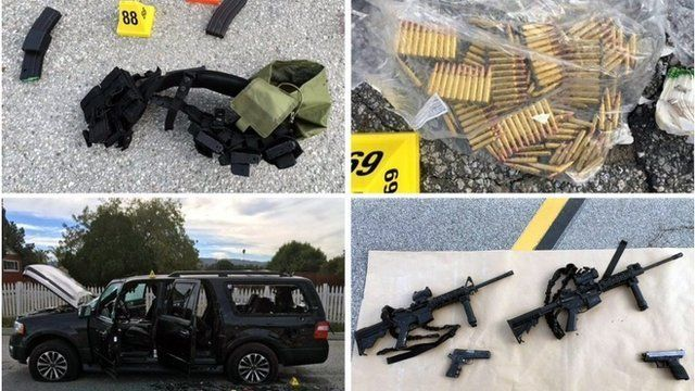 Quad photo of weapons used in US 'Christmas party' shooting