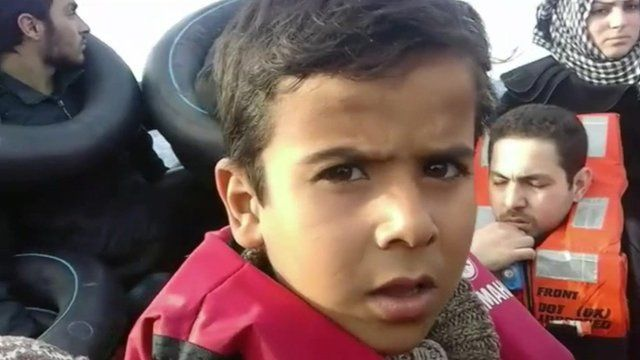Migrant on overcrowded boat en-route to Lesbos