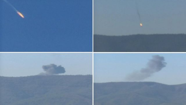 A combination picture taken from video shows a war plane crashing in flames in a mountainous area in northern Syria after it was shot down by Turkish fighter jets near the Turkish-Syrian border