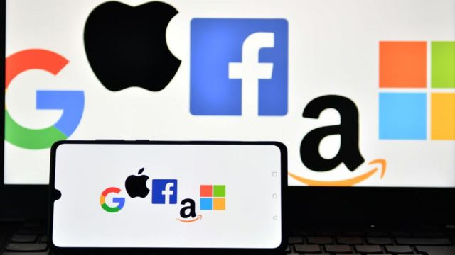 Google, Apple, Facebook, Amazon and Microsoft logo.