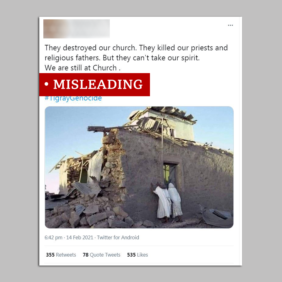 Screengrab of post on Eritrean church