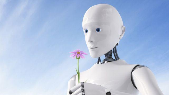 Robô olha para uma flor