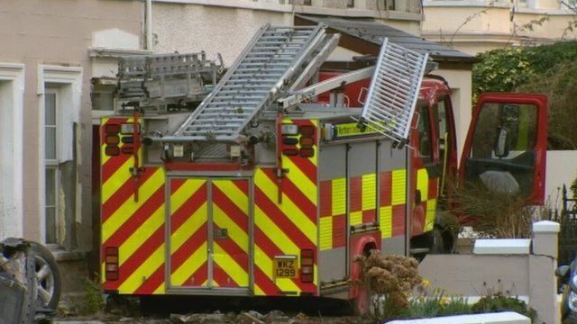 The stolen fire engine crashed into the front garden of a terraced house