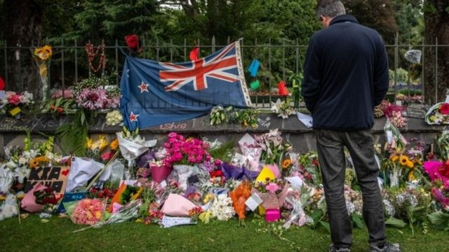 Tributes in Christchurch to victims of the mosque killings, 17 March