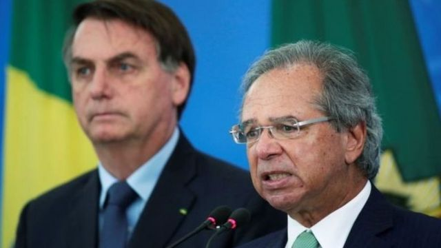 Presidente Jair Bolsonaro e o ministro Paulo Guedes