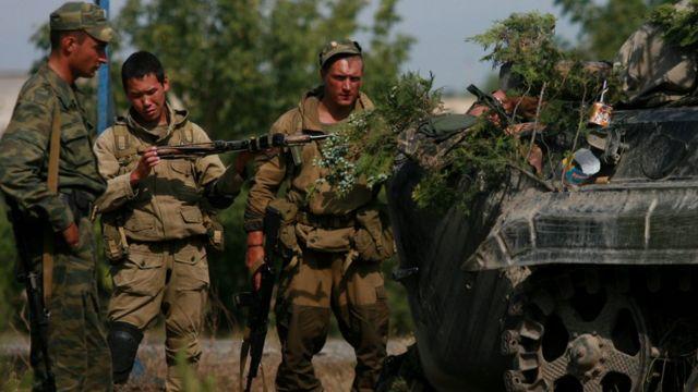 Российские солдаты в районе Гори
