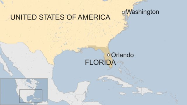 Map of US showing Orlando