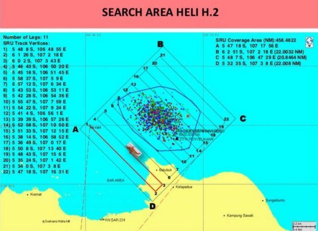 แผนที่ของพื้นที่เจ้าหน้าที่อินโดนีเซียกำลังค้นหาอยู่