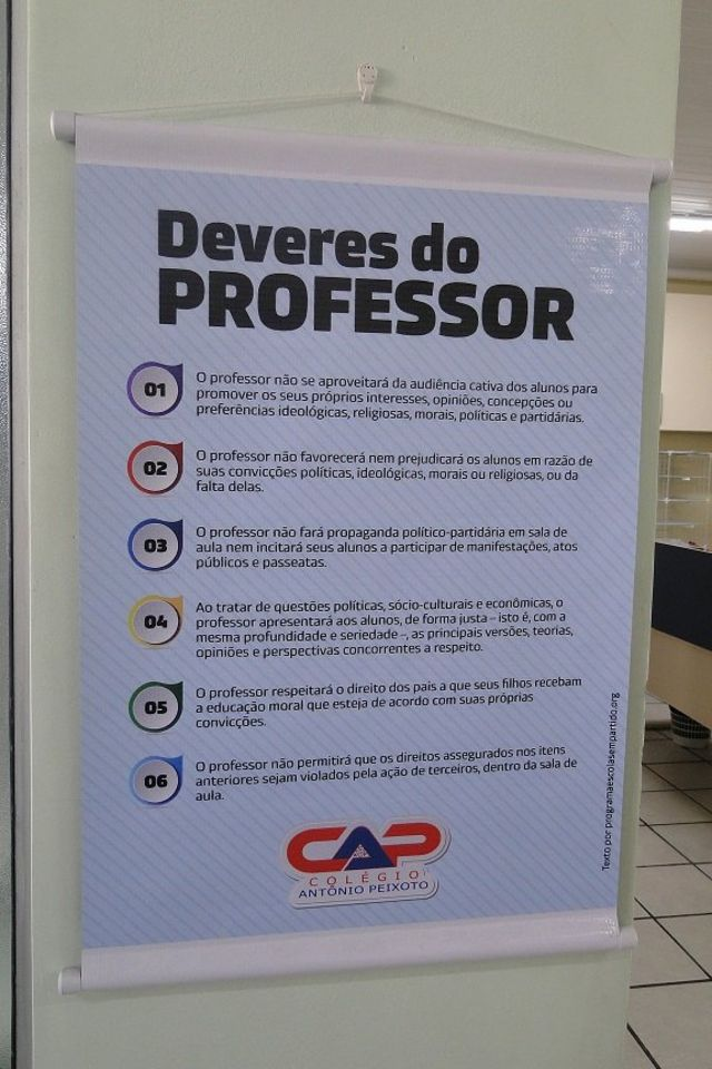 Cartaz sobre os seis deveres do professor