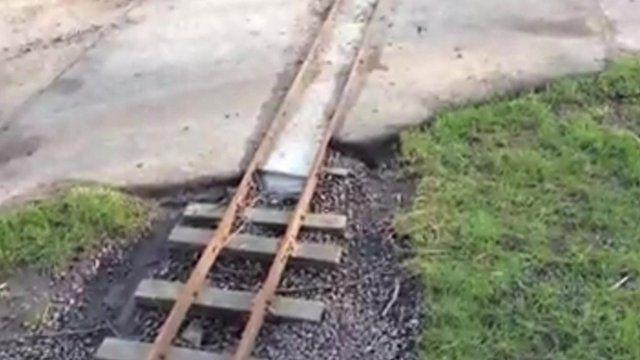 The damaged track