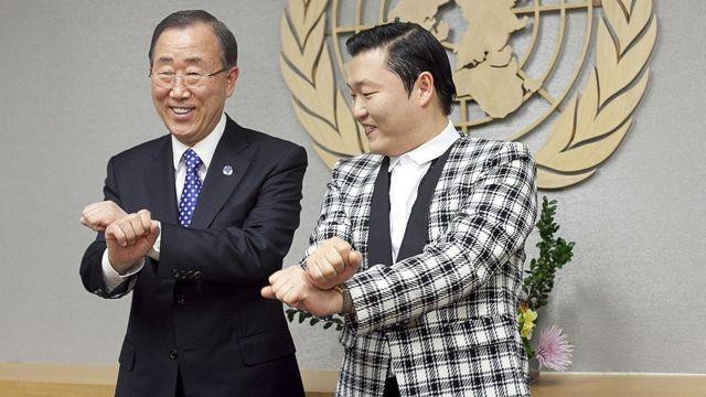 Ban Ki-Moon y Psy en la ONU