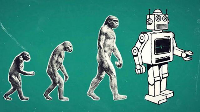 Evolución del hombre con robot al final