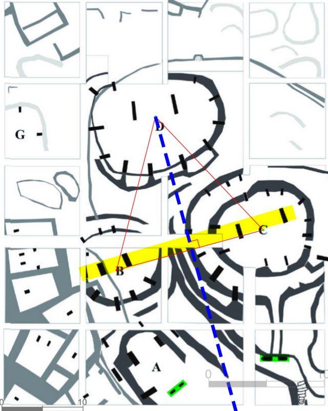 Patrón geométrico subrayando la planificación arquitectónica de un complejo en Göbekli Tepe. Un diagrama superpuesto sobre el plan esquemático.