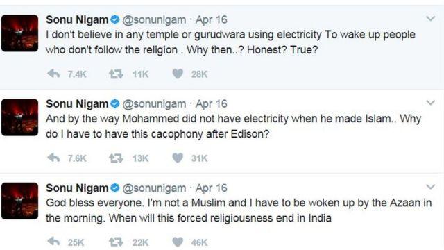 सोनू निगम के ट्वीट्स