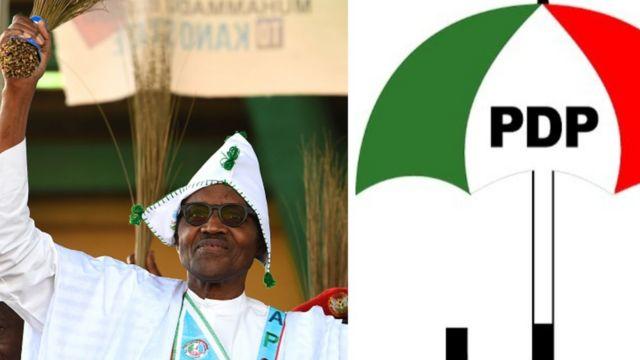 Aworan aarẹ Buhari ati ami idamọ ẹ gbẹ PDP