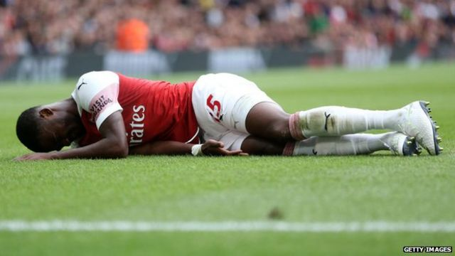 Ainsley Maitland-Niles was injured during Arsenal's 0-2 defeat to Manchester City on the opening day of the 2018/19 season