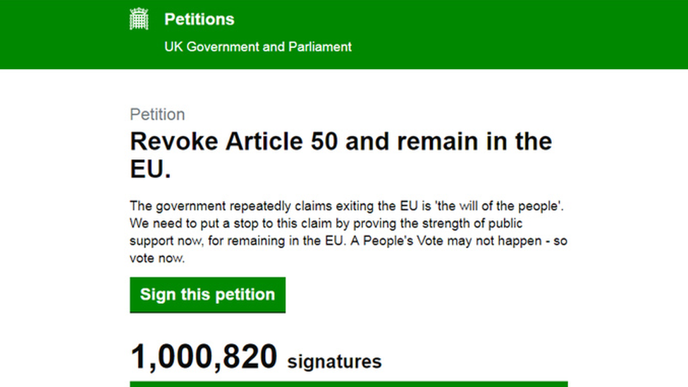'Cancel Brexit' petition passes 2m signatures on Parliament site