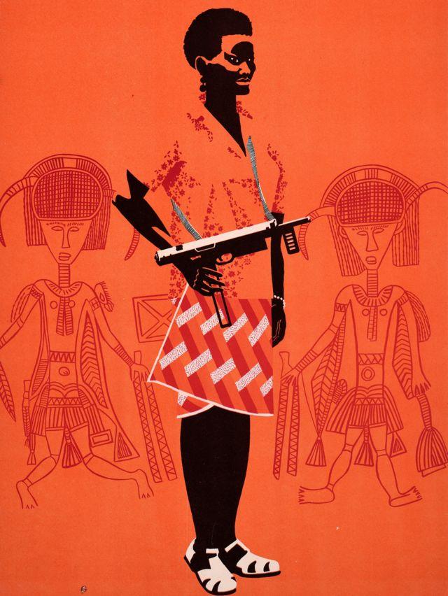 Une affiche Ospaaal, intitulée Journée de solidarité avec le peuple de Guinée-Bissau et du Cap-Vert, 1968, montrant une femme avec une arme à feu.
