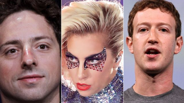 Imagem mostra fotos do co-fundador do Google, Sergey Brin, da cantora Lady Gaga (ao centro) e do presidente do Facebook Mark Zuckerberg (à direita)