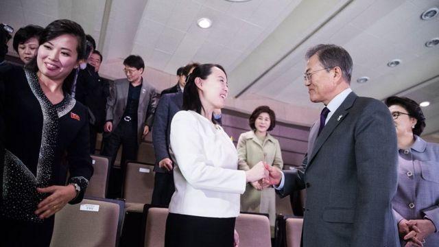 韓国の文在寅大統領と会う金正恩氏の実妹、金与正氏