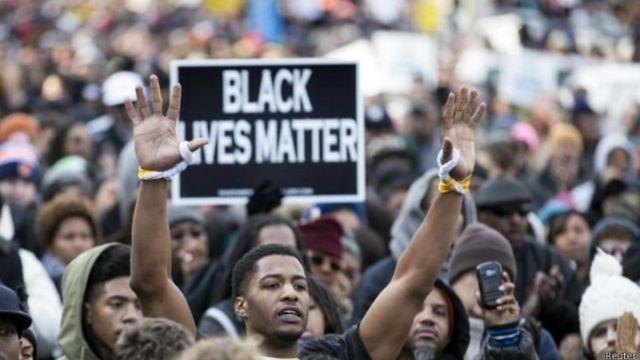 अमरीका में काले नागरिकों का प्रदर्शन