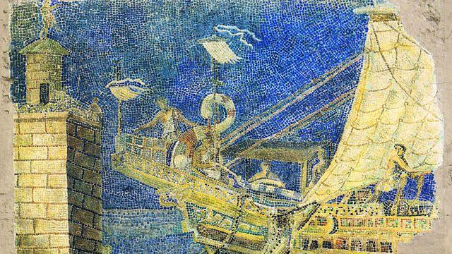 Mosaico romano que mostra o Farol de Alexandria