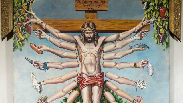 Tela Cruzando Jesus Cristo com Deusa Schiva (1996)