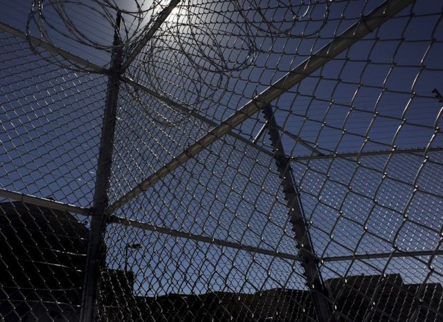 Wire fencing surrounding the Centennial Correctional Facility in Canon City, Colorado, US.
