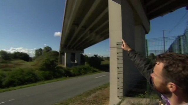 Peter Whittlesea pointing at road