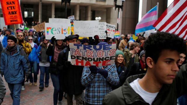 مظاهرة ضد ترامب في بوسطن