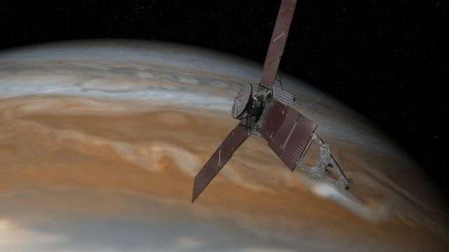 The Juno spacecraft above Jupiter on 7 July 2015.