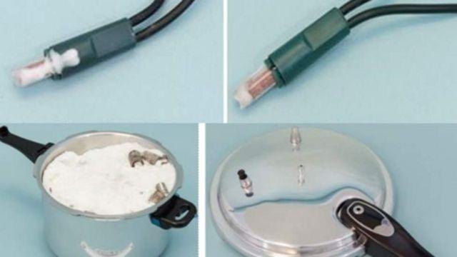 Imágenes de la olla a presión utilizada para fabricar una bomba casera