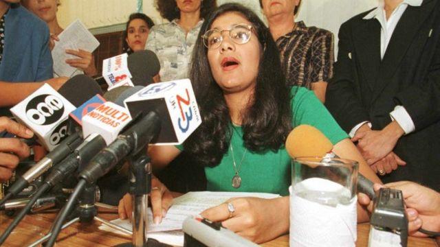 Zoilamérica Narváez durante la conferencia de prensa en la que denunció a Daniel Ortega de violación y abusos sexuales