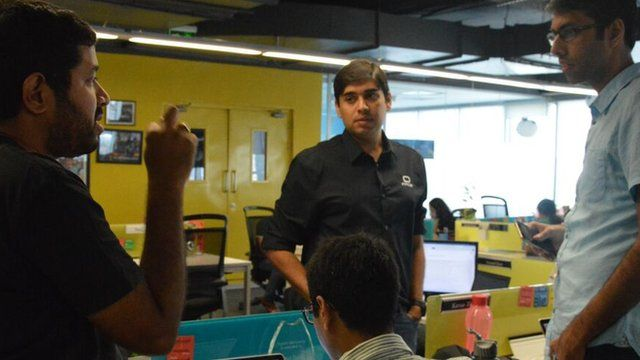 Inmobi chief executive Naveen Tewari in a meeting