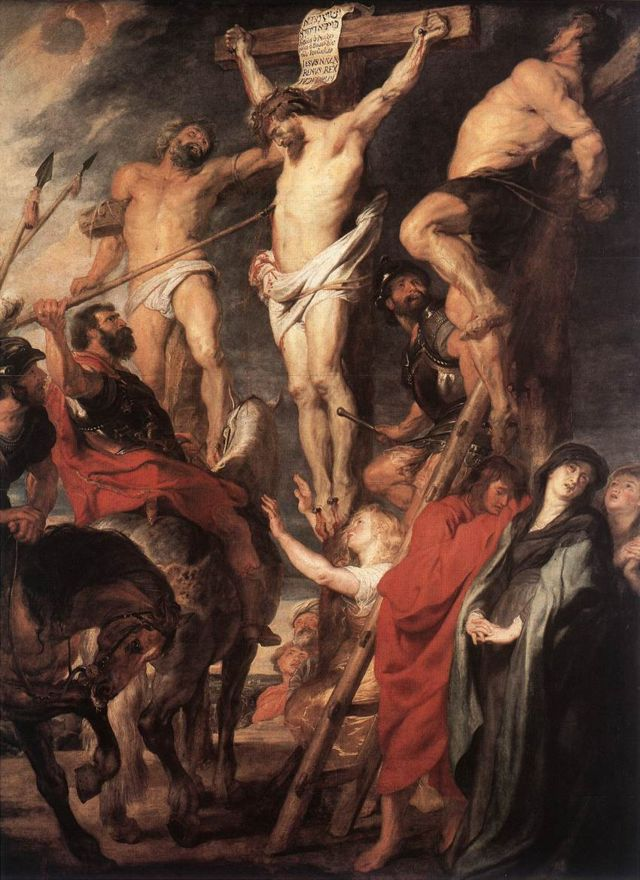 'Jesus na cruz entre os dois ladrões', 1619-1620, de Rubens