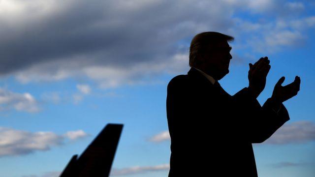 Dan takarar jam'iyyar Republican Donald Trumpya halarci wajen yakin neman zabe a Wilmington, Ohio.